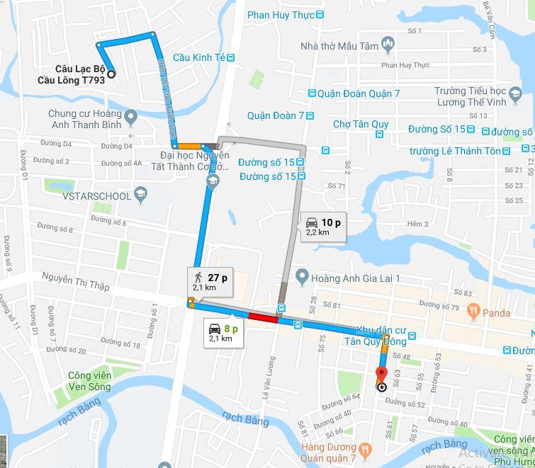 Đường đi tới sân cầu lông T793 từ Shop cầu lông quận 7 VNB Sports. Ảnh. ShopVNB.