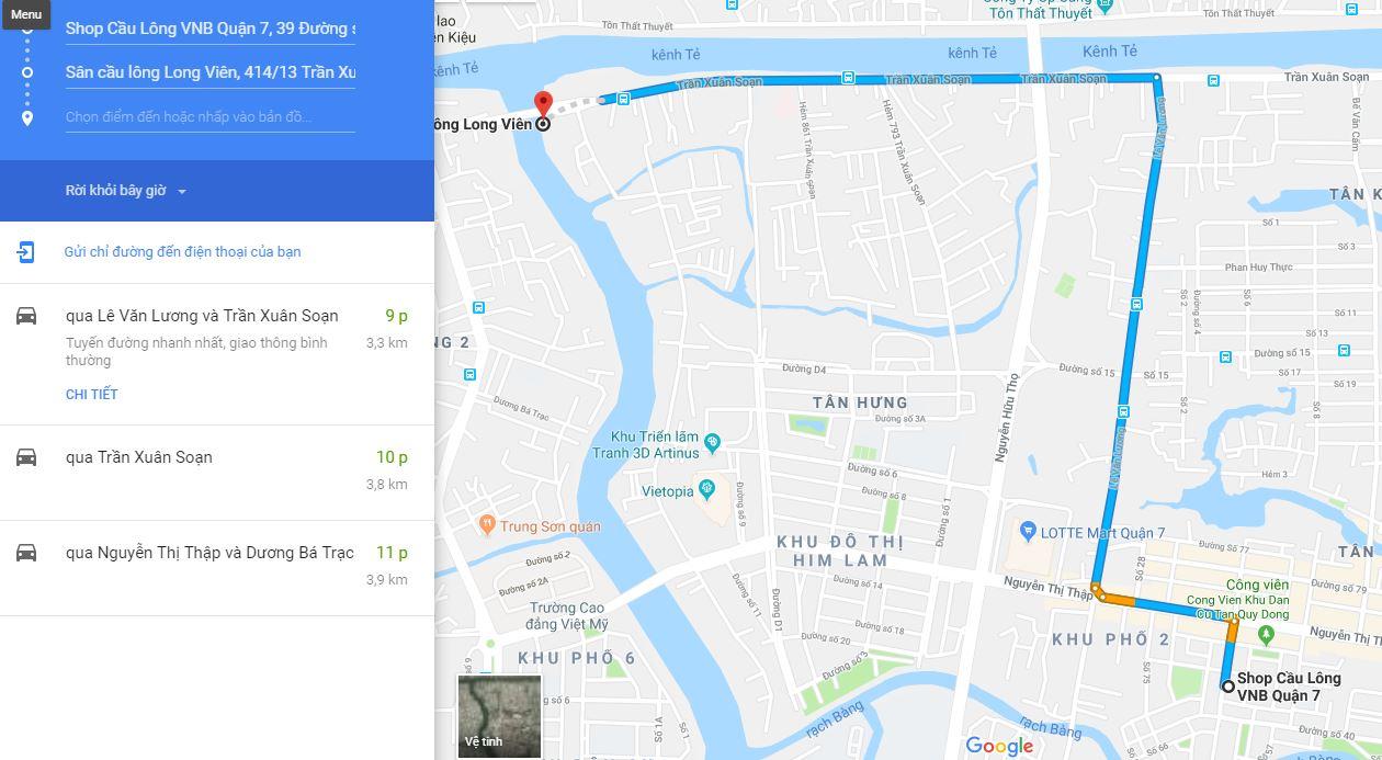 Google map đường đến sân cầu lông Long Viên. Ảnh: Internet.