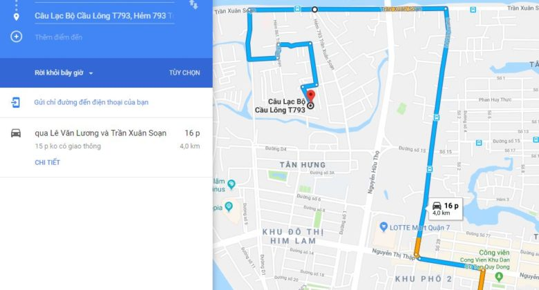 Google map đường đến sân cầu lông T793. Ảnh: Internet.