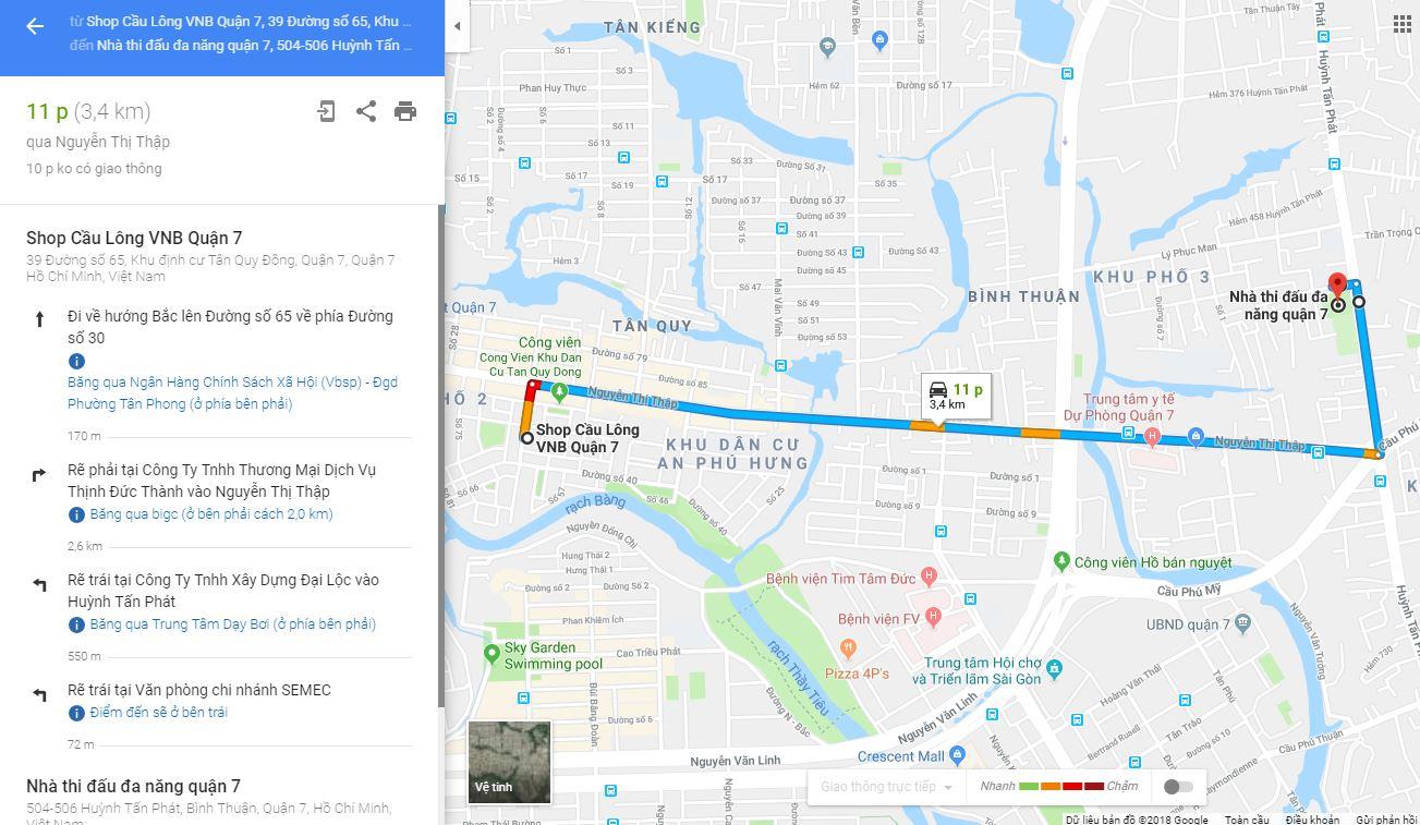 Google map đường đến Nhà thi đấu đa năng quận 7. Ảnh: Internet.